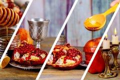 Honey jar with apples Rosh Hashana hebrew religious holiday. Shofar, honey and pomegranate stock photography