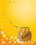 Honey jar with bees. An illustration of a honey jar with a spiral of bees flying away on an orange background with flowers stock illustration
