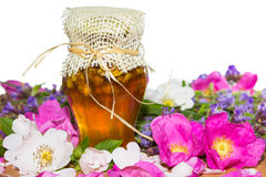 Honey jar with blossoms and herbs Royalty Free Stock Image