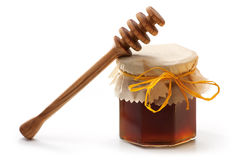 Honey Jar and dipper Stock Photos