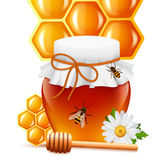 Honey jar with dipper and comb print Royalty Free Stock Images