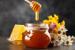 Honey jar and dipper. With leaking honey stock image