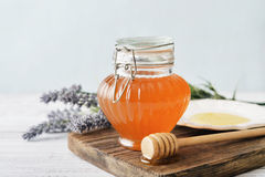 Honey in jar Royalty Free Stock Images