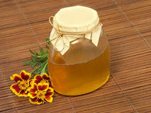 Honey jar and flower. Stock Photography