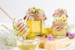 Honey in a jar, flowers and honey dipper Stock Photography