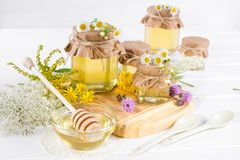 Honey in a jar, flowers and honey dipper Royalty Free Stock Photos