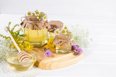 Honey in a jar, flowers and honey dipper Stock Images
