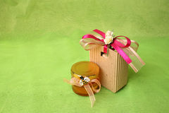 Honey Jar and Gift Bag Royalty Free Stock Images