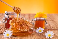 Honey in jar with honeycomb and wooden drizzler Royalty Free Stock Photo