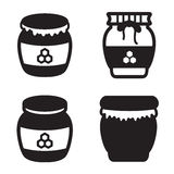 Honey jar icon in four variations. Vector eps 10. Honey jar icon in four variations. Vector eps 10 Royalty Free Stock Photos