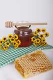 Honey in jar on a light background Royalty Free Stock Photos