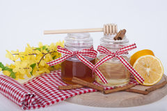 Honey in jar on a light background Stock Image