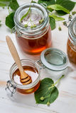 Honey in a jar and lime leaves Stock Images
