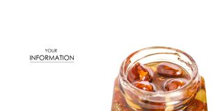A honey jar with nuts pattern. On a white background isolation Royalty Free Stock Images