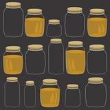 Honey jar pattern. Handdrawn cartoon pattern with glass jars  on black Stock Image
