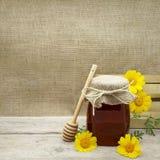 Honey Jar su un fondo rustico Fotografie Stock Libere da Diritti