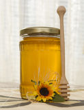 Honey jar with sunflower. Seeds on a table Stock Image