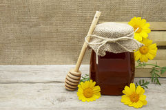 Honey Jar sur un fond rustique Photographie stock libre de droits