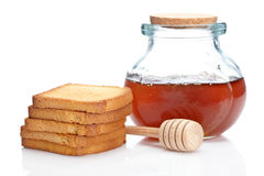 Honey jar and toasts Royalty Free Stock Images