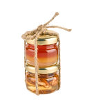 Honey in the jar with walnut Royalty Free Stock Photos