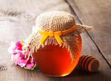 Honey in jar Royalty Free Stock Photography