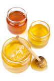 Honey in jars isolated Royalty Free Stock Images