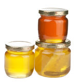 Honey in jars isolated Stock Photography