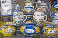 Honey jars at Porto, Portugal stock photo
