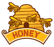 Honey label. Honey bee sign, bees and beehive sign, honey symbol Royalty Free Stock Image