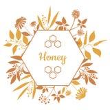 Honey Label con las plantas y las flores stock de ilustración