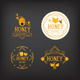 Honey label design. Bee badge. Royalty Free Stock Photos