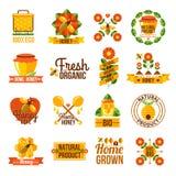 Honey Label Set natural orgánico stock de ilustración
