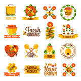 Honey Label Set natural orgânico Imagens de Stock Royalty Free