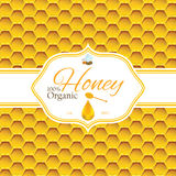 Honey label template for honey logo products with bee and drop of honey on Honeycomb colorfull pattern background Stock Photo