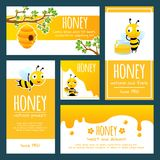 Honey labels. Banners or cards design template with illustrations of bees and honey. Honey bee, natural yellow sweet, banner with organic tasty honey vector stock illustration