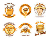 Honey labels and beekeeping logo Stock Photography