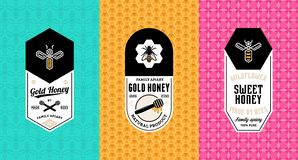 Honey labels, logo and packaging design royalty free illustration
