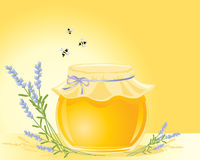 Honey and lavender. An illustration of a round pot of honey with decorative lid lavender posy and three bees on a golden background Royalty Free Stock Photo