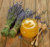 Honey with lavender Stock Image