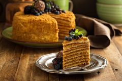 Honey layered cake with candy and berry. Honey caramel homemade layered cake with candy and berry on top stock image