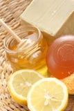 Honey and lemon bath royalty free stock photo