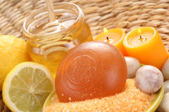 Honey and lemon bath Stock Images