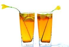 Honey and lemon drink. Chilled honey and lemon drinks over white background Royalty Free Stock Image