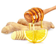 Honey with lemon and ginger Royalty Free Stock Photo