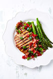 Honey and Lemon Glazed Turkey Fillet with Salsa Royalty Free Stock Image