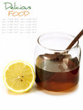 Honey and lemon isolate on white Royalty Free Stock Image