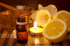 Honey and lemon spa therapy Royalty Free Stock Photos