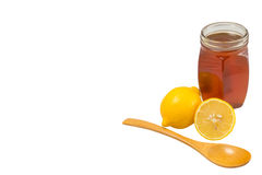 Honey and lemon ,space for text Royalty Free Stock Photography
