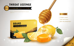 Honey lemon throat lozenge. Ads template and package design for sore throat. 3D illustration Royalty Free Stock Images