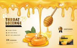 Honey lemon throat lozenge. Ads template and package design for sore throat. Honey dripping from top. 3D illustration Royalty Free Stock Photo